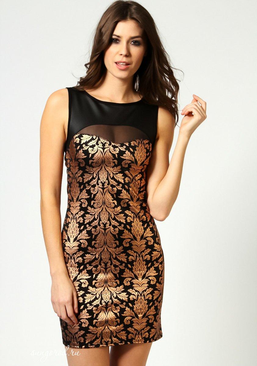Золотое С Черным Платье